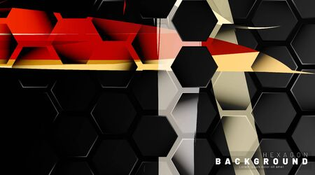 Black hexagon abstract pattern on colorful brush style background technology. Honeycomb. Vector illustration Ilustracja