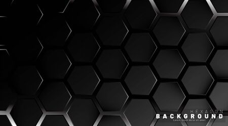 Abstract black hexagon pattern on a technology style of neon gradient background. Honeycomb. Vector illustration Illusztráció