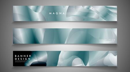 Vector banners with liquid wave background suitable for advertising and so on.