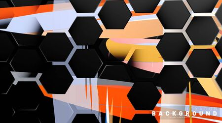 Black hexagon abstract pattern on colorful brush style background technology. Honeycomb. Vector illustration Ilustracja