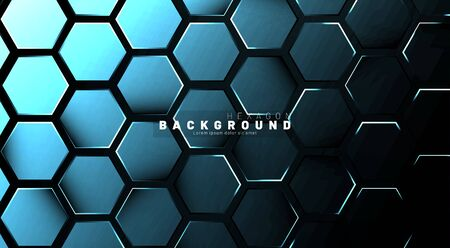 Abstract hexagon blue neon gradient pattern on a dark background technology style. Honeycomb. Vector illustration Ilustracja