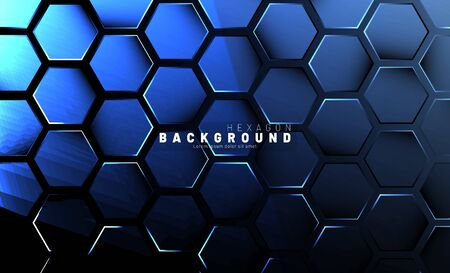 Abstract hexagon blue neon gradient pattern on a dark background technology style. Honeycomb. Vector illustration Иллюстрация