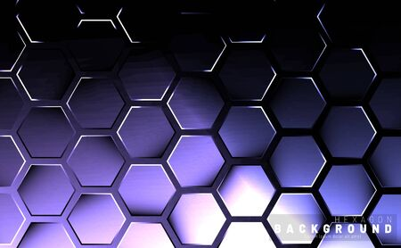 Abstract hexagon gradient colorful light pattern with a dark background technology style. Honeycomb. Vector illustration