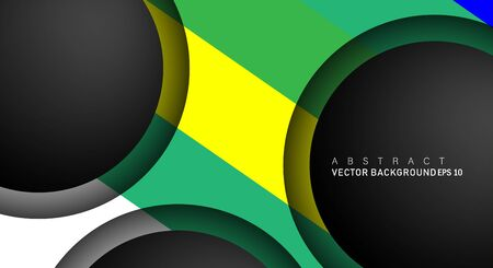 Colorful geometric vector backgrounds that overlap layers on black space circle for text and background designs Ilustração Vetorial