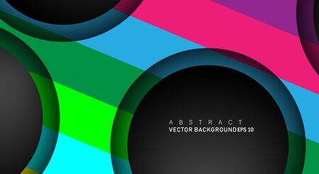 Colorful geometric vector backgrounds that overlap layers on black space circle for text and background designs