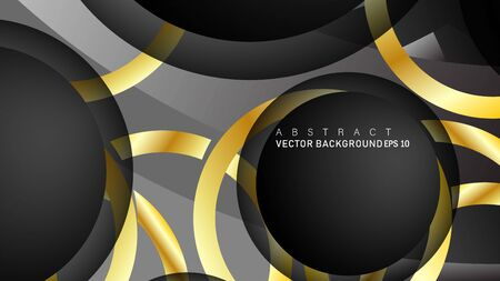 Vector background design that overlaps with gold ring color gradients on black space circles for text and background design Фото со стока - 129481061