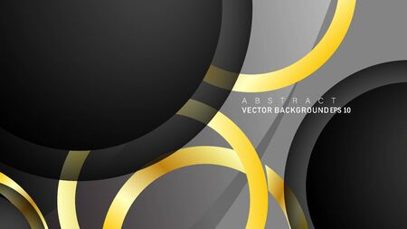 Vector background design that overlaps with gold ring color gradients on black space circles for text and background design