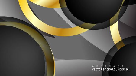 Vector background design that overlaps with gold ring color gradients on black space circles for text and background design Фото со стока - 129481069
