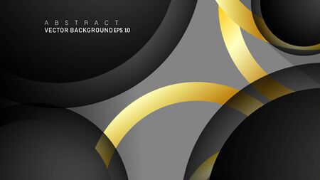 Vector background design that overlaps with gold ring color gradients on black space circles for text and background design Фото со стока - 129480353