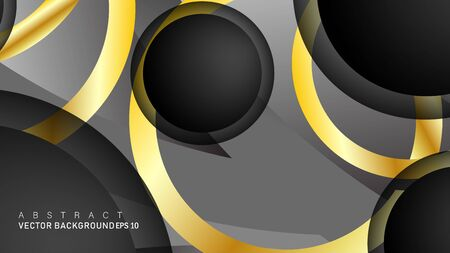 Vector background design that overlaps with gold ring color gradients on black space circles for text and background design Фото со стока - 129481111
