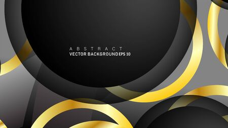 Vector background design that overlaps with gold ring color gradients on black space circles for text and background design Фото со стока - 129480293