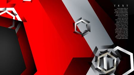 Vector hexagon overlaps and red color for background, space for text