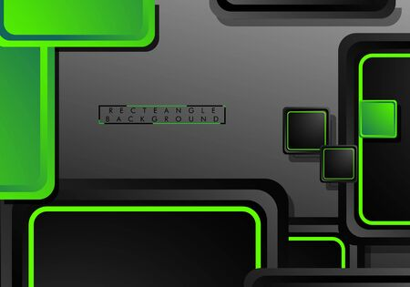 Black and green neon squares abstract hi-tech background. Vector geometric design 일러스트