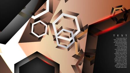 abstract vector background with gradient hexagon shapes. Stock Illustratie