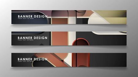 Set the banner abstract background. Rectangular, round in brick and stone colors Standard-Bild - 129490001