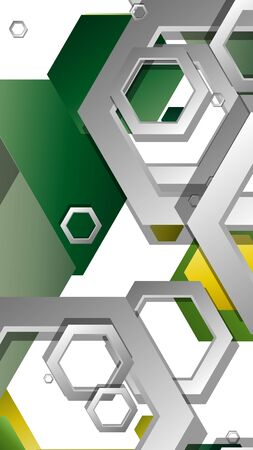 Abstract geometric background with hexagons, foliage color composition. Vector illustration Illustration