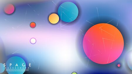Background of Flat Space with planets and stars. Vector illustration of galaxy 向量圖像
