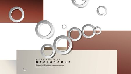 Ring abstract rectangular background with drop shadow. Vector illustration, with the colors of bricks and stones