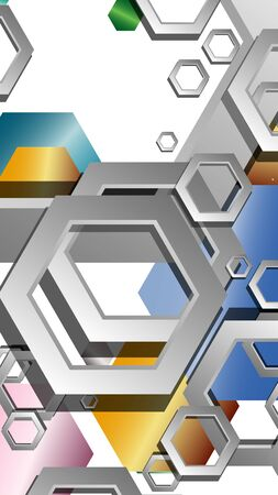 Abstract geometric background with hexagon jewels color compositions. Vector illustration Фото со стока - 129739111