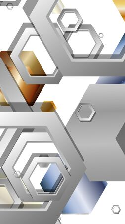 Abstract geometric background with hexagon metal color composition. Vector illustration 일러스트