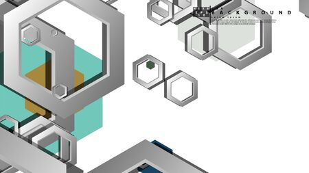 Abstract geometric background with hexagon cold color composition. Vector illustration Foto de archivo - 129739335
