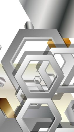 Abstract geometric background with hexagon metal color composition. Vector illustration Foto de archivo - 129739340