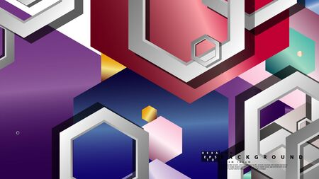 Abstract geometric background with hexagon jewels color compositions. Vector illustration Фото со стока - 129739349