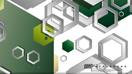 Abstract geometric background with hexagons, foliage color composition. Vector illustration Foto de archivo - 129739393