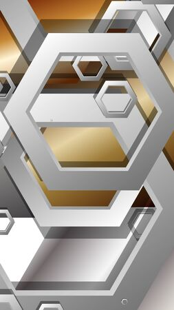 Abstract geometric background with hexagon metal color composition. Vector illustration Foto de archivo - 129739395