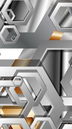 Abstract geometric background with hexagon metal color composition. Vector illustration Foto de archivo - 129739396