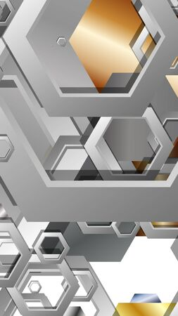Abstract geometric background with hexagon metal color composition. Vector illustration Foto de archivo - 129739400