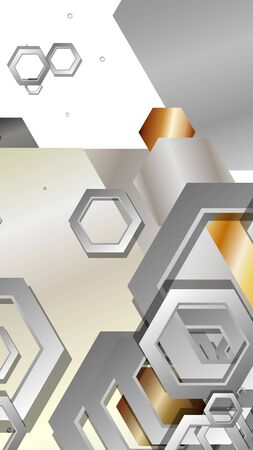 Abstract geometric background with hexagon metal color composition. Vector illustration Foto de archivo - 129739401