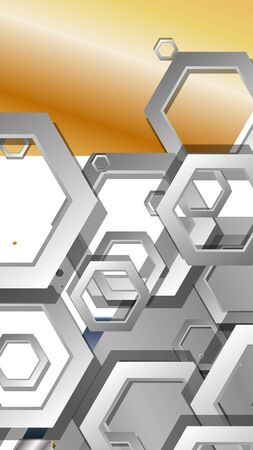 Abstract geometric background with hexagon metal color composition. Vector illustration Foto de archivo - 129739406