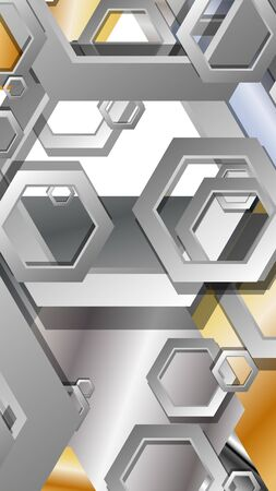 Abstract geometric background with hexagon metal color composition. Vector illustration Foto de archivo - 129739568