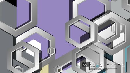 Abstract geometric background with hexagon cold color composition. Vector illustration Foto de archivo - 129739570