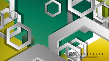 Abstract geometric background with hexagons, foliage color composition. Vector illustration Foto de archivo - 129739576
