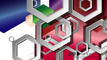 Abstract geometric background with hexagon jewels color compositions. Vector illustration Фото со стока - 129739583