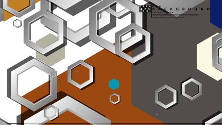 Abstract geometric background with hexagon cold color composition. Vector illustration Foto de archivo - 129739587