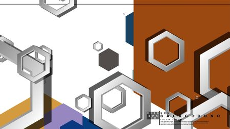 Abstract geometric background with hexagon cold color composition. Vector illustration Foto de archivo - 129739597