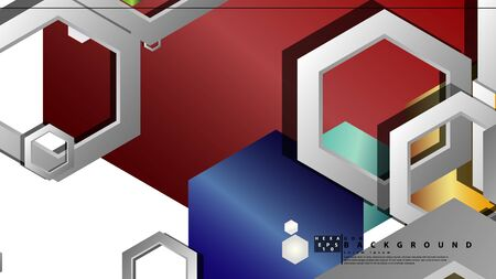 Abstract geometric background with hexagon jewels color compositions. Vector illustration Фото со стока - 129739729