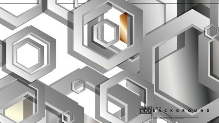 Abstract geometric background with hexagon metal color composition. Vector illustration Foto de archivo - 129739731
