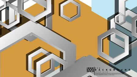 Abstract geometric background with hexagon cold color composition. Vector illustration Foto de archivo - 129739737