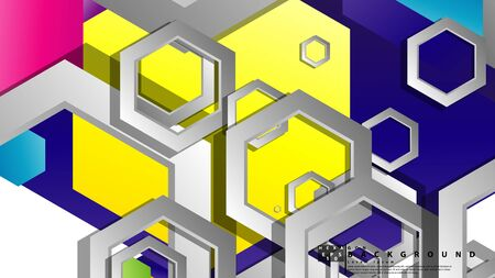 Abstract geometric background with hexagon, brights color compositions. Vector illustration