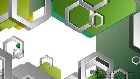Abstract geometric background with hexagons, foliage color composition. Vector illustration Foto de archivo - 129739736