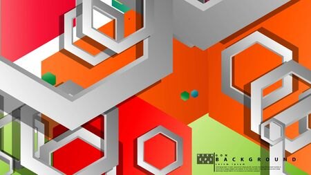 Abstract geometric background with hexagon, brights color compositions. Vector illustration Foto de archivo - 129739744