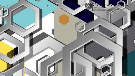Abstract geometric background with hexagon cold color composition. Vector illustration Foto de archivo - 129739743
