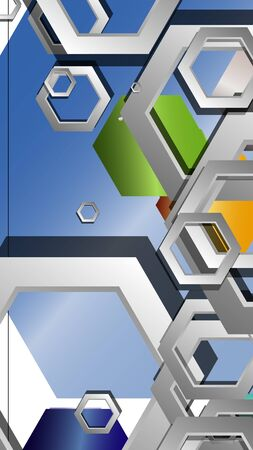 Abstract geometric background with hexagon jewels color compositions. Vector illustration Фото со стока - 129739804
