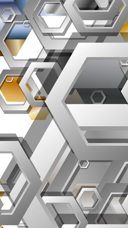 Abstract geometric background with hexagon metal color composition. Vector illustration Foto de archivo - 129739807