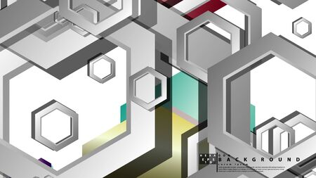 Abstract geometric background with hexagon jewels color compositions. Vector illustration Фото со стока - 129748058