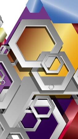 Abstract geometric background with hexagon jewels color compositions. Vector illustration Фото со стока - 129748063